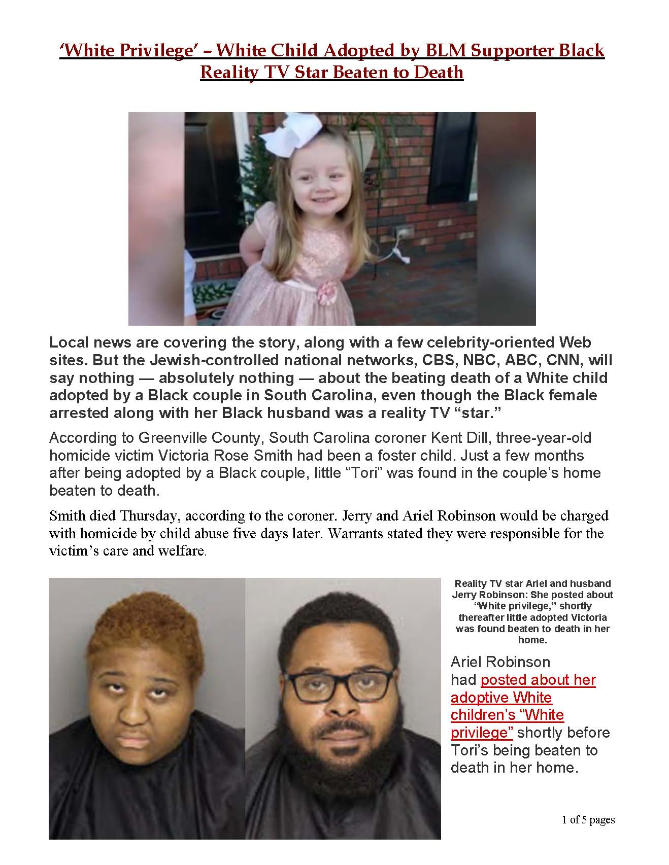 'White Privilege' – White Child Adopted by BLM Supporter Black Reality TV Star Beaten to Death_Page_1