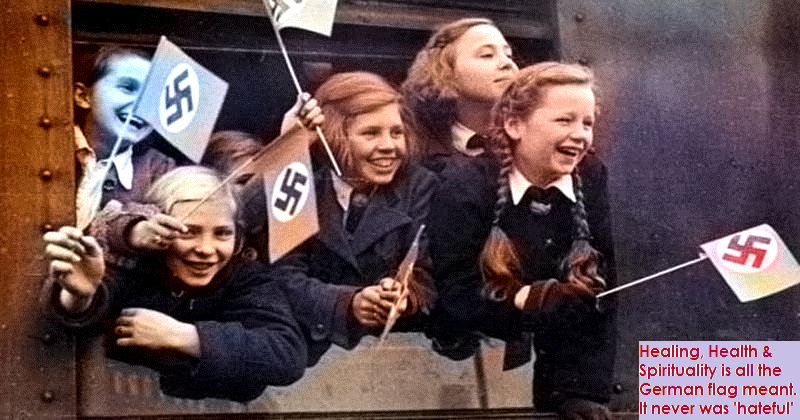 Young German Girls waving flags WWII